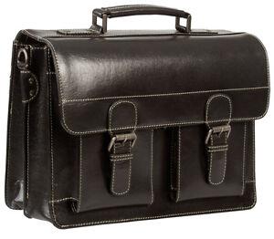 hideonline vintage rugged black saddle leather satchel briefcase