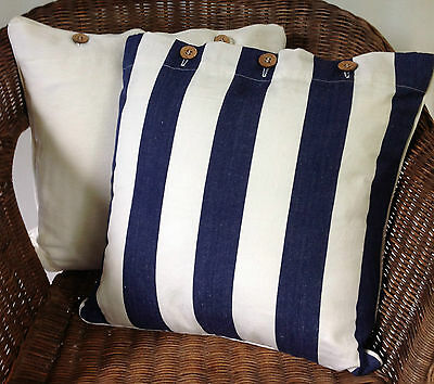 Navy Blue and Off White Cushion Cover Set of 2 Scatter Throw Decor Linen Case