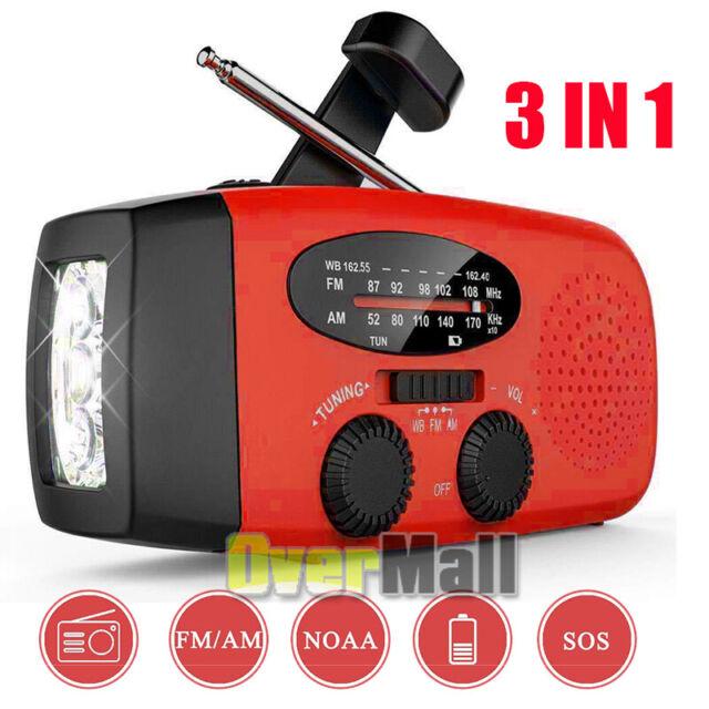 Emergency Solar Wind Up Hand Crank 3 LED Flashlight AM//FM Weather Radio Charger