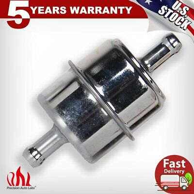 """Chrome Canister Fuel Filter Fits 3//8/"""" ID Hose Carbureted Inline Car Gas Filter"""