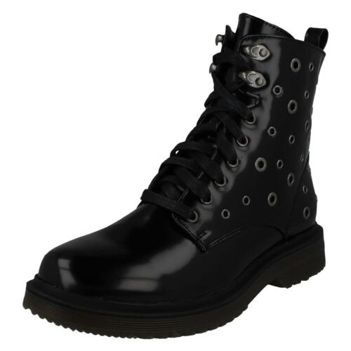 Ladies Spot On Synthetic Lace Up Boots