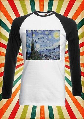 Vincent Van Gogh Starry Night Men Women Long Short Sleeve Baseball T Shirt 1714