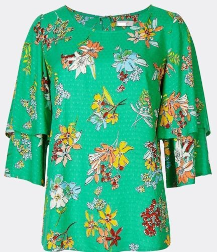 MARKS /& SPENCER PER UNA GREEN FLORAL PRINT RUFFLE SLEEVE TOP Sizes 8 to 22