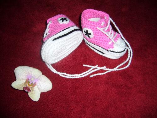 0-6 Mon Sohle 9,5cm Babychucks Sneaker gehäkelt pink schwarz weiß für ca
