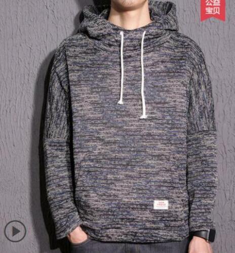 Mens Wool Knitwear Loose Knit Retro Hoodie Style Casual Coat Outwear Tops