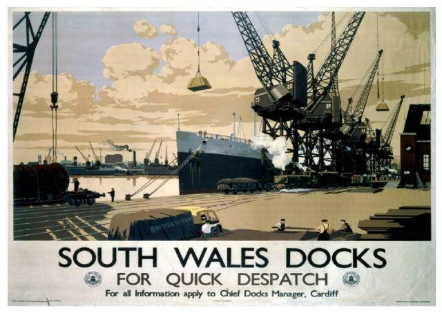 199 Vintage Railway Art Poster South Wales Docks *FREE POSTERS