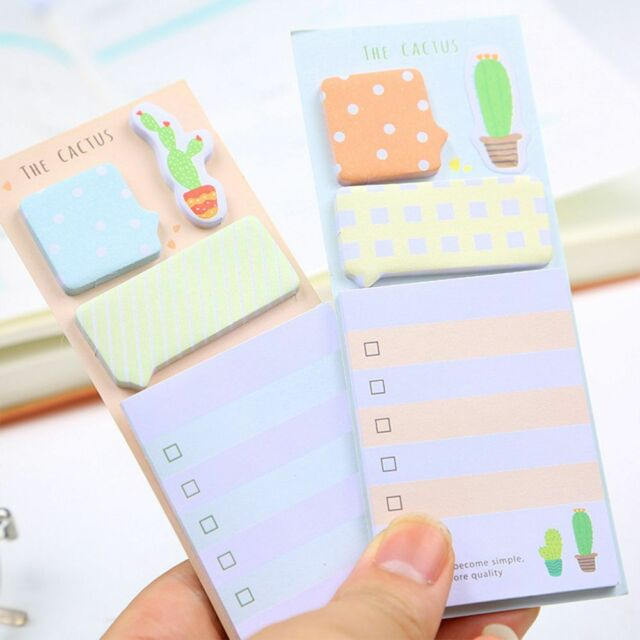 1PC Cute Self-adhesive Cactus Sticky Notes Stationery Planner Memo Pad Notepad