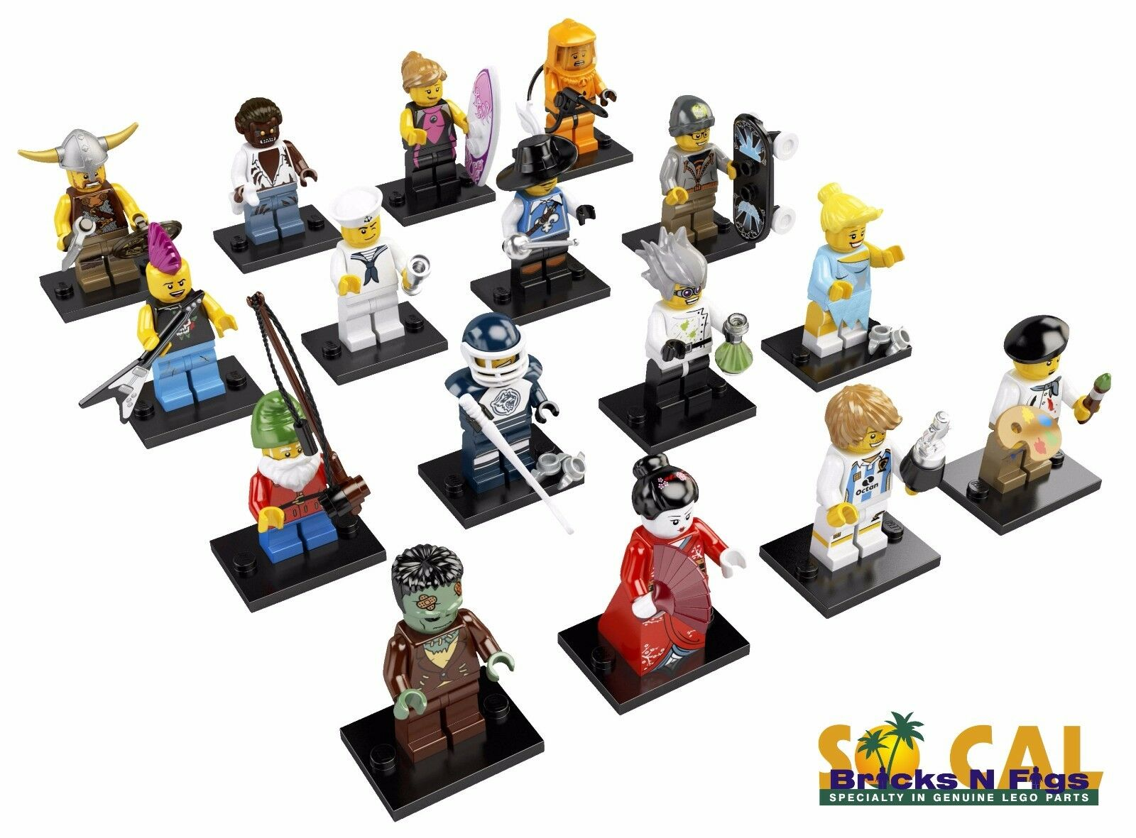 Nouveau LEGO 8804 Jeu complet de 16 MINI FIGURINES SÉRIE 4