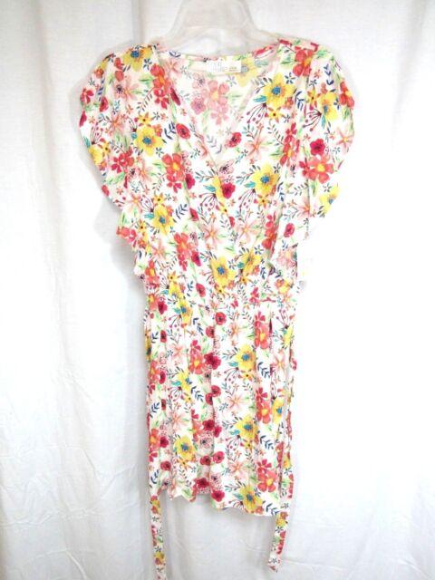 Time And Tru Jumpsuit Sz L 12 14 Multi Floral Belt Flutter Sleeve