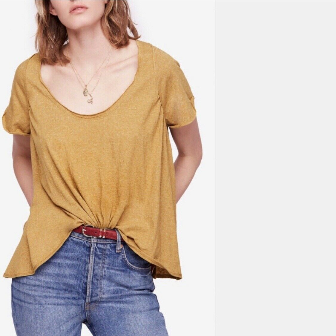 NWT FREE PEOPLE We the Free Nori Tee Short Sleeves Moss LARGE L  OB840687