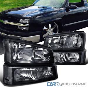 03-07-Silverado-Avalanche-Pickup-Headlights-Bumper-Turn-Signal-Lamps-Black-Pair