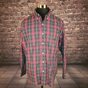 Chaps-Easy-Care-Mens-XL-Long-sleeve-Button-Down-Olive-Plaid-Shirt
