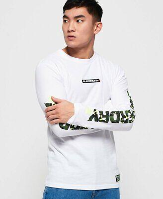Superdry Mens Orange Label Textured Long Sleeve T Shirt  Green Black Worldwide