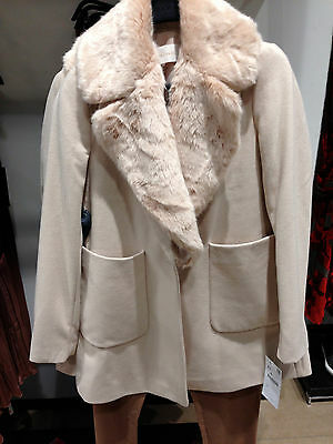 11589d02 ZARA NEW WOOL COAT WITH FUR LAPEL AND PATCH POCKETS NUDE PINK XS-XL  7901/230 | eBay