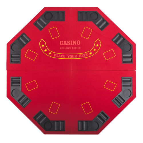 """Red Octagon 48/"""" 8 Player Four Fold Folding Poker Table Top /& Carrying Case"""