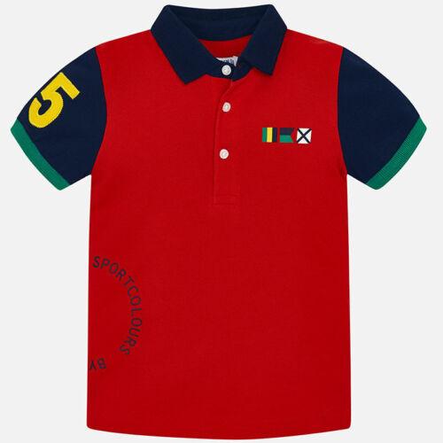polo rossa bimbo mayoral bambino maglia collo blu maglietta colletto bandiere