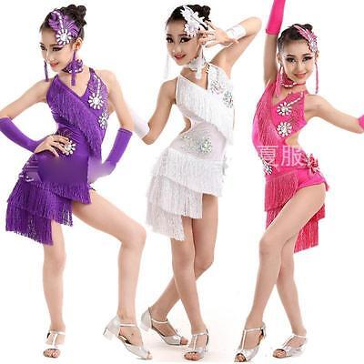 girls Children Latin Cha cha Salsa Ballroom Dance Mini Skirt Dancewear V040