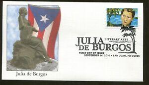 2010-San-Juan-Puerto-Rico-Julia-de-Burgos-Litteraire-Arts-Fleetwood-FDC