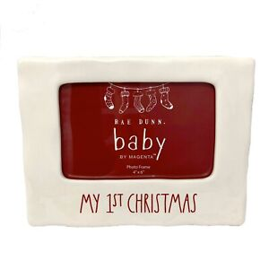 Rae Dunn Baby My 1st Christmas White Ceramic Holiday Picture Frame 4 x 6 Photo