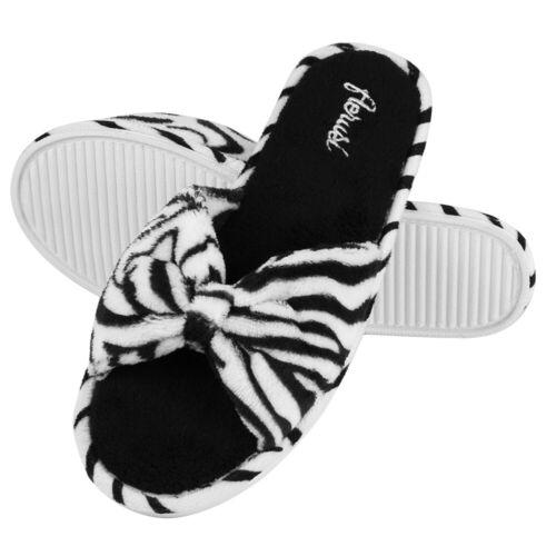 Black White Soft Memory Foam Sole Slippers Winter Indoor Bedroom Open Toe Shoes