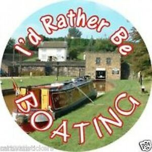 Spare-Wheel-Cover-039-I-039-d-Rather-be-Narrowboating-039-Sticker-Decal-Graphic-SINGLE