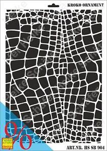 Schablone-Stencil-A3-217-0904-Kroko-Ornament-Neu-Heike-Schaefer-Design