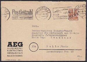 SBZ-BZH-174-V-Leipzig-EF-AEG-Firmen-Brief-mit-MAS-Halle-geprueft-Dr-Modry-BPP