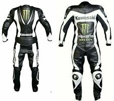 Kawasaki- Motorcycle Leather Suit,Motorbike Racing Cowhide Men Leather(Replica)