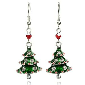 Image Is Loading Silver Christmas Tree Earrings Red Swarovski Secret Santa