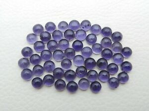 Natural Iolite Loose Gemstones Round 6mm Cabochon Wholesale Lot 15-Pieses S345