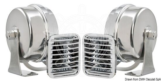 Einzelhupe verchro. ABS ABS ABS Halterung aus Edelstahl. Horn 115 + - 5 dB 21.451.40 f6a6d2