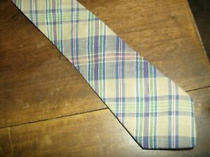 Lands End Mens Necktie Tan Blue Green Plaid 100/% Cotton Made in USA NEW