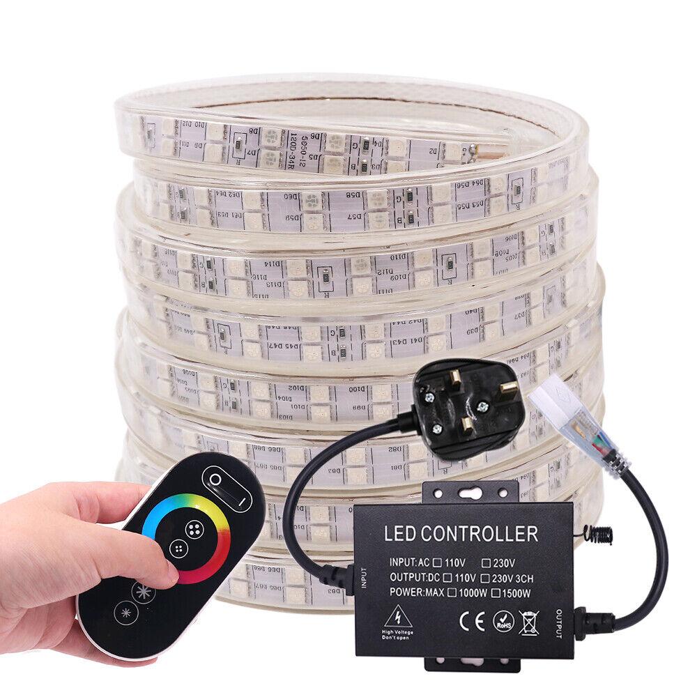 5050 RGB LED Strip Lights AC220V 240V 60LED m Waterproof+Touch Remote+UK EU Plug