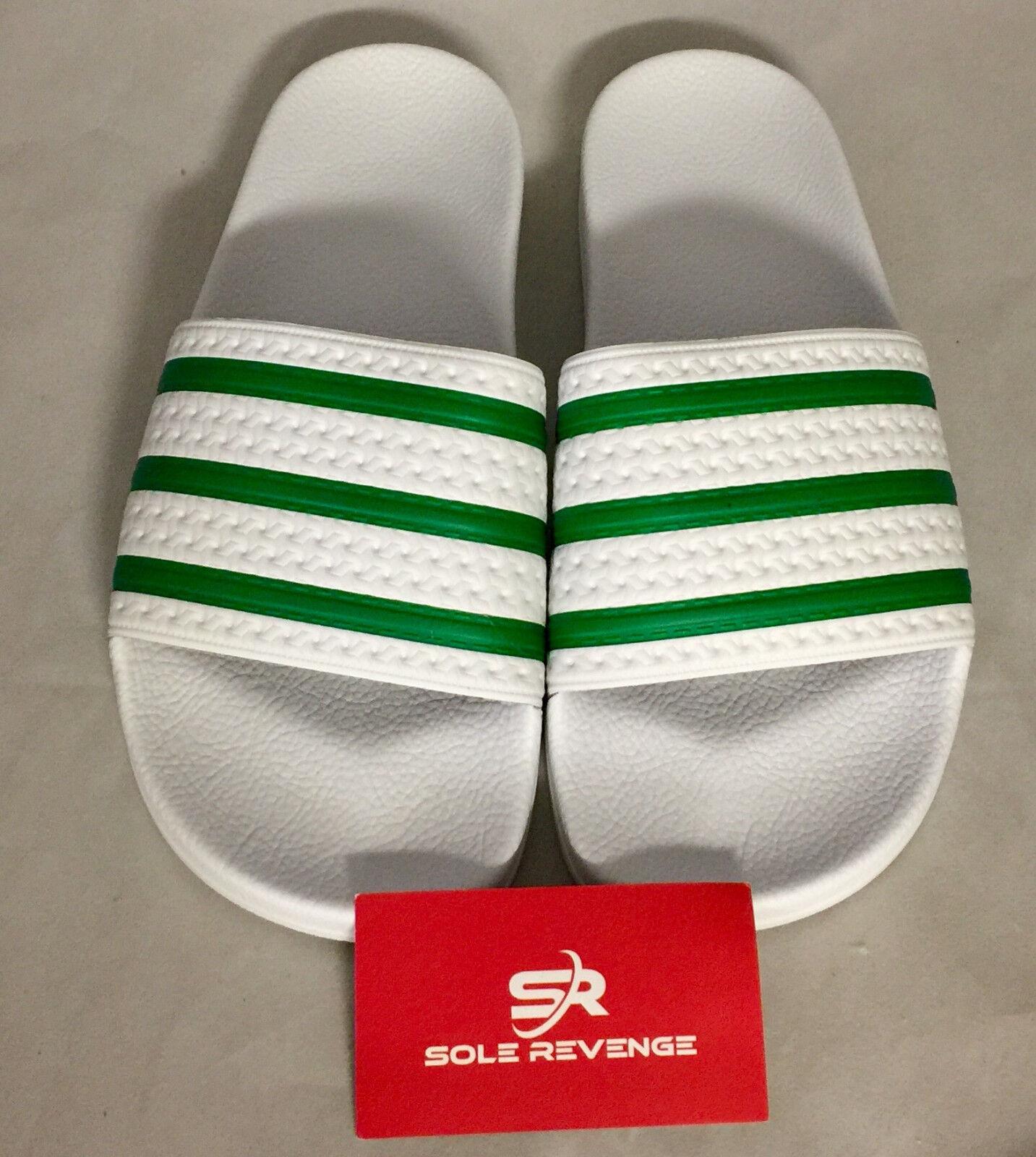 New Adidas ADILETTE Slides Sandals Mens White Green Beach Flip Flops S78678