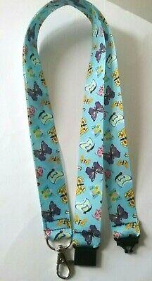 Butterfly Blue Ribbon Cordino Tracolla Clip Di Sicurezza Id Badge Holder Insegnante- Modellazione Duratura