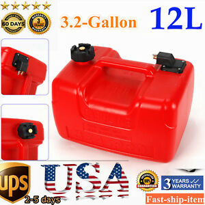 3.2 Gallon Boat Fuel Tank 12L Low Profile Red Plastic Outboard Motor Gas Tank US