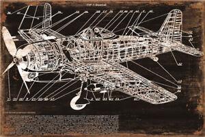 Metal-Tin-Sign-old-plane-plan-Pub-Home-Vintage-Retro-Poster-Cafe-ART