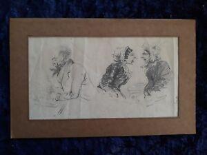 Dessin ancien XIXème crayon caricature signé Louis Gouye