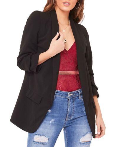 Ladies Womens 3//4 Sleeve Coat Ruffle Frill Open Front Blazer Jacket Duster 8-26