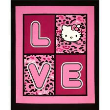 """New Hello Kitty Cheetah Love 100% cotton 43"""" Fabric by the panel"""