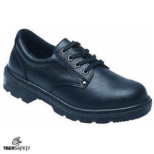 Toesavers 2414 S1P SRC Puntera De Acero Negro Cuero Zapatos de seguridad calzado de trabajo