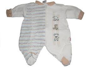 Baby-Butt-toller-Schlafanzug-Gr-50-56-beige-weiss-mit-Giraffen-Motiven
