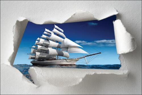 Sticker trompe l/'oeil paper torn deco boat ref 1323