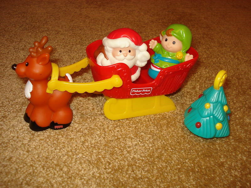 FISHER PRICE LITTLE PEOPLE PEOPLE PEOPLE CHRISTMAS HOLIDAY SANTA SLEIGH SET LOT e6b14b