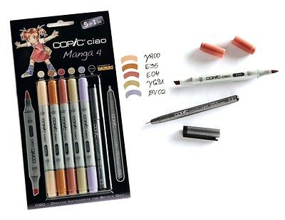 COPIC CIAO 5+1 MANGA 4 SET TWIN TIPPED MARKERS PLUS 0.3 FINE LINER - (MANGA ART)