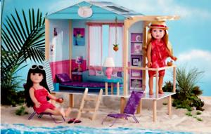 For American girl Gotz Journey Girls Beach Hut Camp Hangout Wooden dollhouse Lea