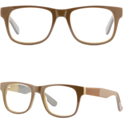 Große Damen Herren Brille Plastik Fassung Brillengestell Federscharniere Braun