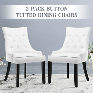 Groovy Details About Set Of 2 Elegant Tufted Design Fabric Dining Chairs Upholstered Wood Legs White Andrewgaddart Wooden Chair Designs For Living Room Andrewgaddartcom