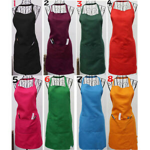 New Women Cooking Kitchen Restaurant Bib Apron Dress with Pocket Gift Muti-color