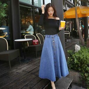 9f6b13cd66efbb Korean Style Women High Waist Loose Type Long Skirts Clothes Denim ...